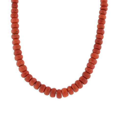 Vintage Italian 14kt & Oxblood Coral Bead Necklace 20""