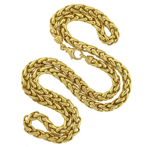 Estate 14kt Gold Braided Rope Chain Necklace 36""