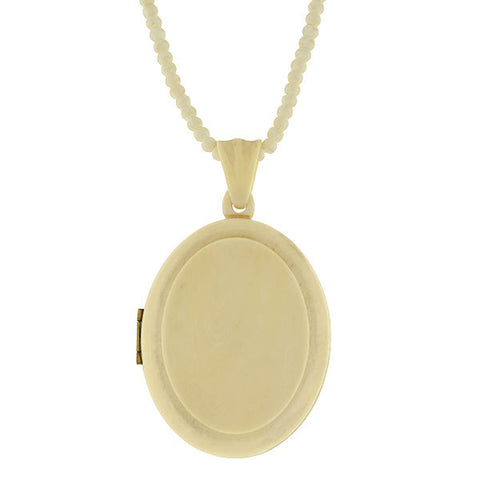 Victorian Hand Carved Ivory Locket and Bead Necklace