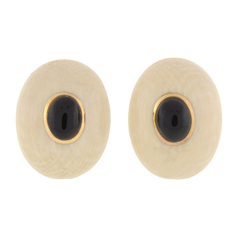 Vintage 14kt Ivory & Onyx Stud Earrings