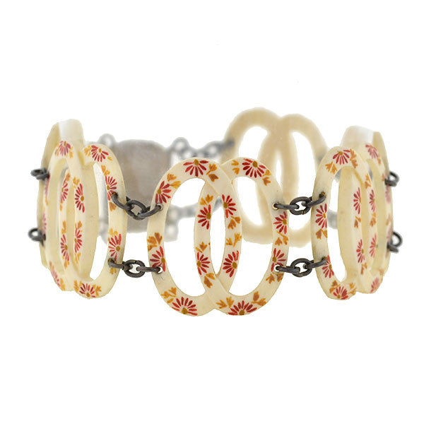 Art Deco Carved Ivory Link Bracelet with Painted Floral Motif