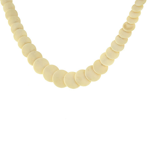 Victorian Hand-Carved Ivory Disc Necklace