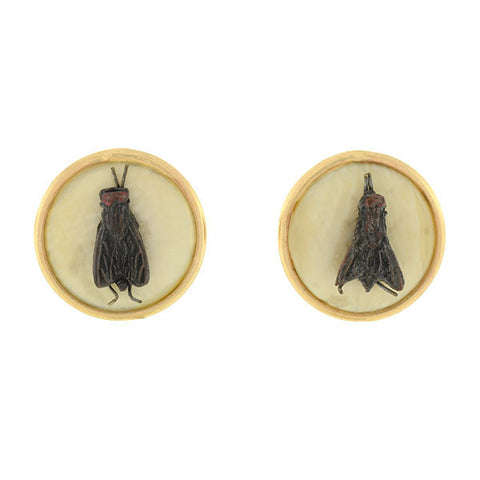 Victorian Hand Painted Steel Fly & Ivory Stud Earrings