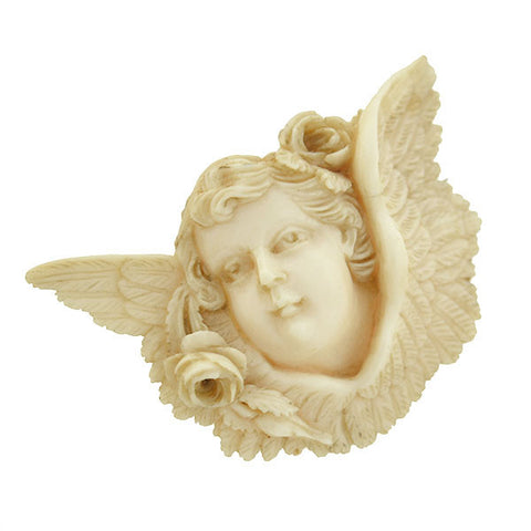 Victorian Hand Carved Ivory Angel Pin