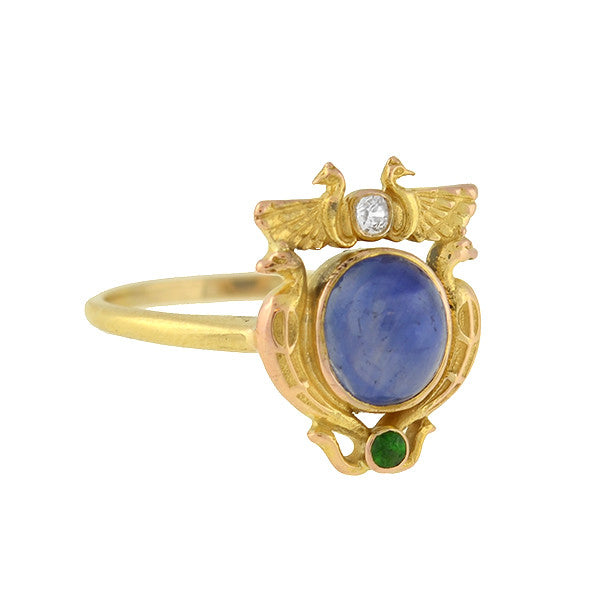 J.E. CALDWELL Art Nouveau Egyptian Revival Sapphire, Diamond, Emerald Ring