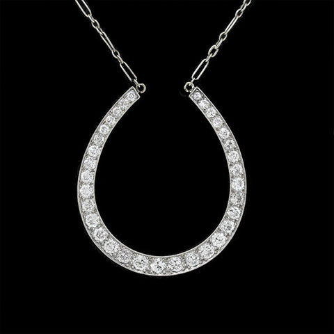 J.E. CALDWELL Edwardian Platinum & Diamond Horseshoe Necklace 2.00ctw
