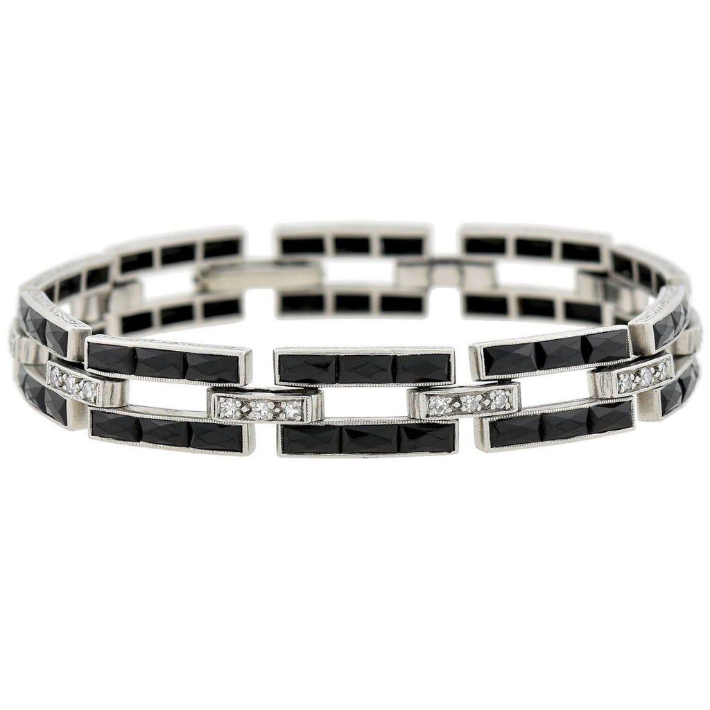 J.E. CALDWELL Art Deco Platinum Calibrated Onyx + Diamond Link Bracelet