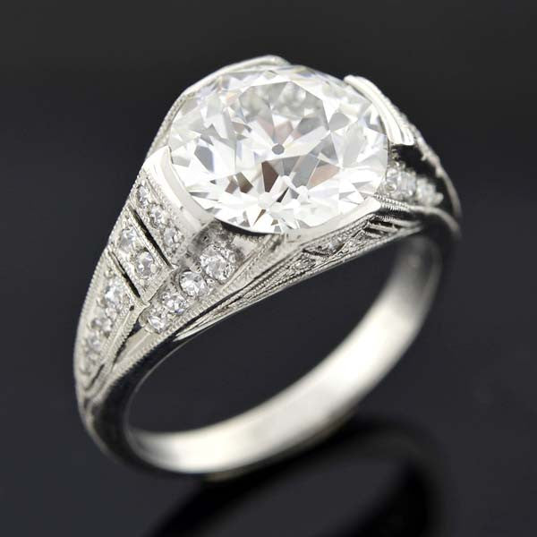 JE CALDWELL Art Deco Platinum Diamond Ring 4.02ct