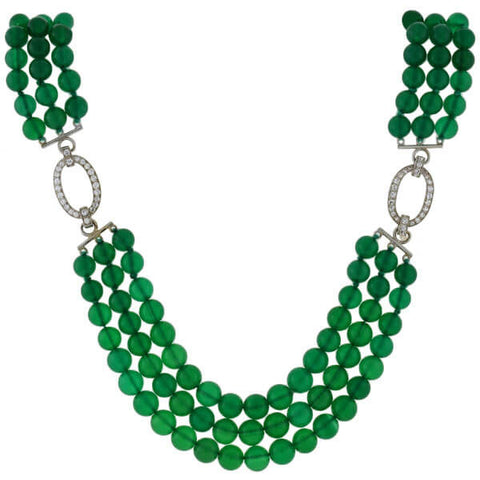 J.E. CALDWELL Art Deco Platinum Diamond & Chrysoprase Bead Necklace