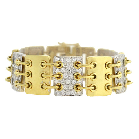 JOSE HESS Estate 14kt Gold & Pavé Diamond Link Bracelet 3.00ctw