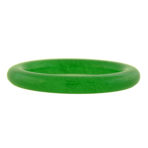 Late Art Deco Carved Green Jade Slip-On Bangle Bracelet