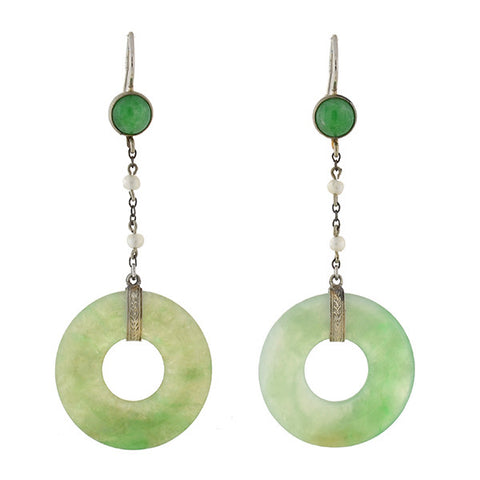 Art Deco 14kt Jade & Seed Pearl Earrings