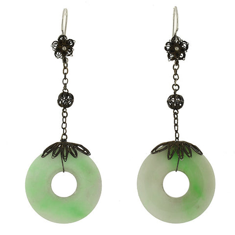 Art Deco Silver & Carved Jadeite Earrings