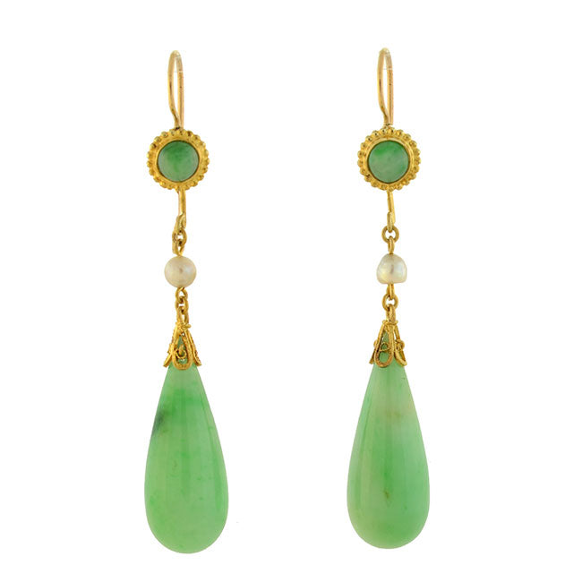 Retro 14kt Natural Pearl & Jade Teadrop Earrings