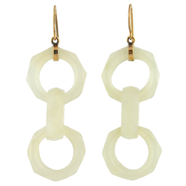 Art Deco 14kt Carved Mutton Jade 3-Ring Earrings