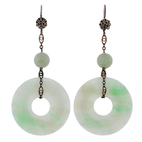 Art Deco Sterling Silver & Jade Chinese Earrings