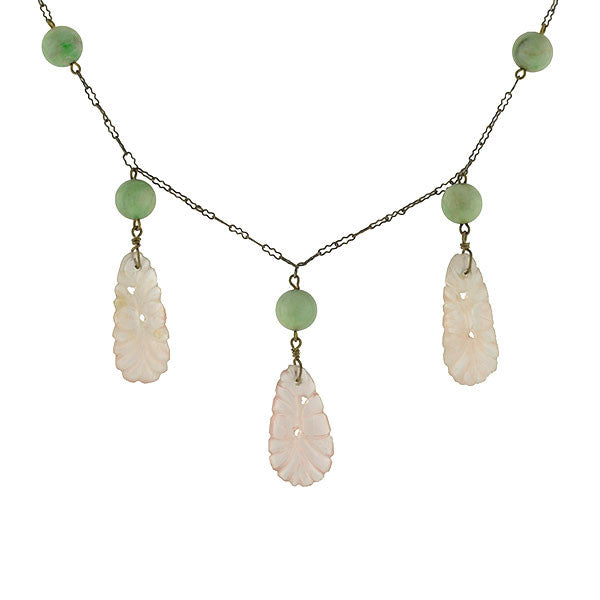 Art Deco Chinese Silver Jade & Carved Rose Quartz Necklace