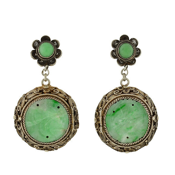 Art Deco Chinese Silver Gilt Carved Jade Vinaigrette Earrings