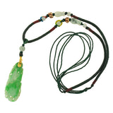 Estate Chinese 14kt Carved Jade Woven Necklace