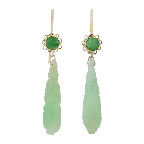 Late Art Deco 14kt Hand Carved Jade Dangle Earrings