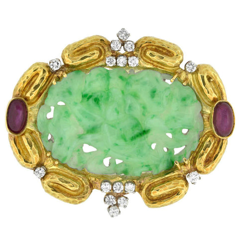 Estate Large 18kt Carved Jade, Ruby + Diamond Pin