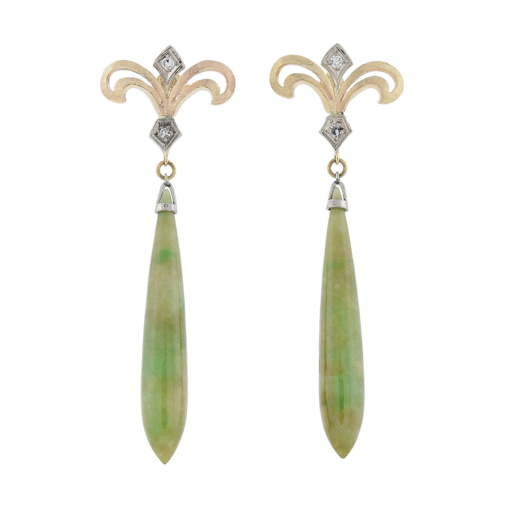 Retro 14kt Natural Nephrite Jade + Diamond Drop Earrings