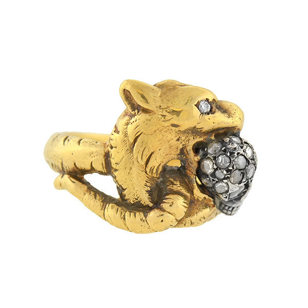 Early Victorian 18kt/Sterling Diamond Griffin & Skull Ring