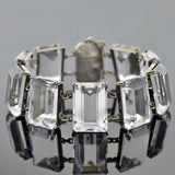 Vintage Japanese Sterling Rock Quartz Crystal Link Bracelet