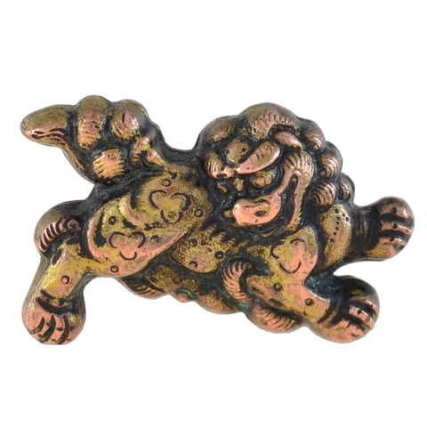 "Retro Japanese Sterling Silver + Gold Overlay ""Foo Dog"" Cufflinks"