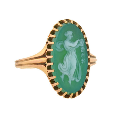Victorian 18kt Green Jasperware Ring