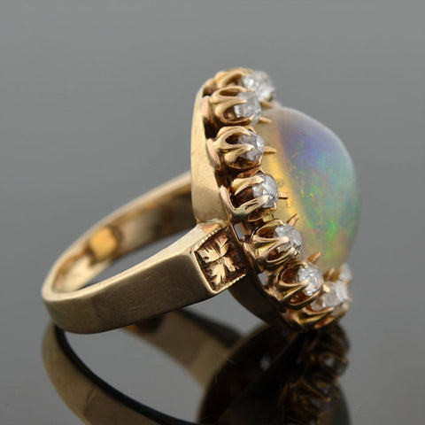 Victorian 14kt Jelly Opal Mine Cut Diamond Cluster Ring