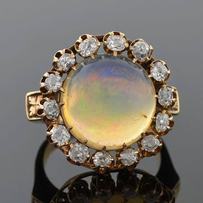 Victorian 14kt Jelly Opal & Mine Cut Diamond Ring