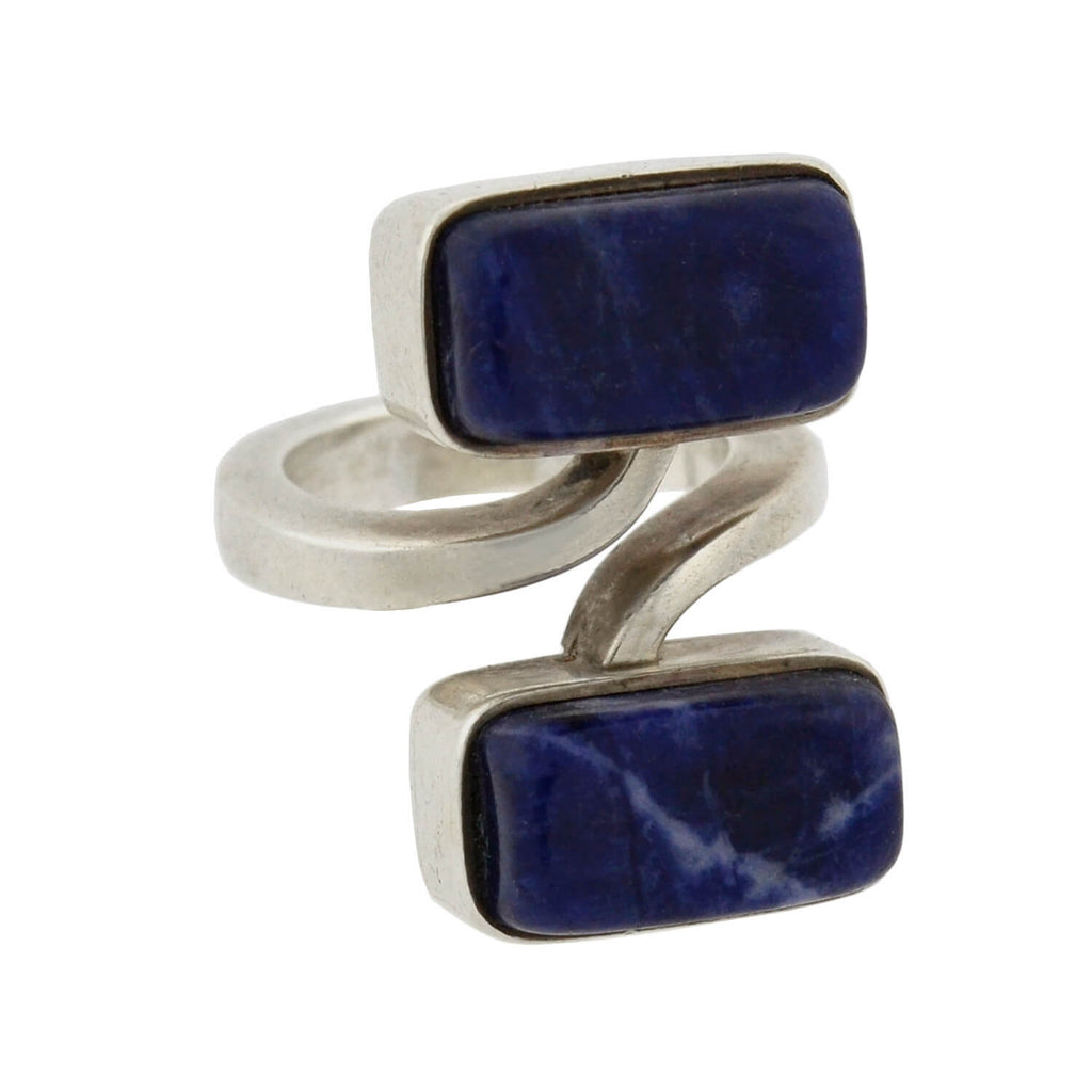 JENS HOUGAARD Vintage Sterling Lapis Lazuli Bypass Ring