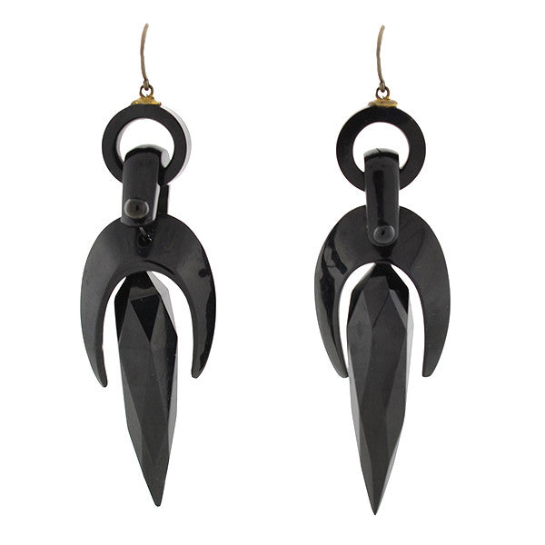 Victorian Hand Carved Faceted Jet Earrings