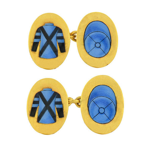 Art Deco 18kt Gold & Enamel Jockey Uniform Cufflinks