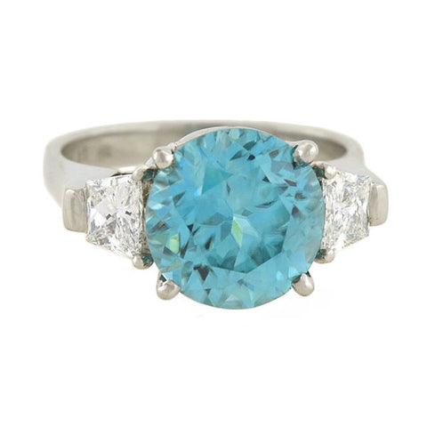Vintage Platinum Natural Blue Zircon & Diamond Ring 5.50ct