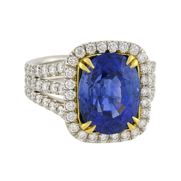 Estate Platinum/18kt Cushion Sapphire Diamond Ring 7.93ct