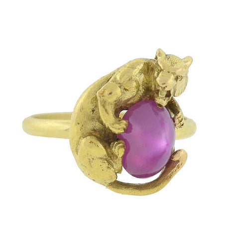 Late Victorian 18kt Panther & Star Ruby Cabochon Ring
