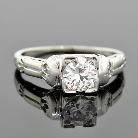 Late Art Deco 18kt Diamond Engagement Ring 0.62ct