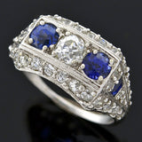 Art Deco Platinum Sapphire & Diamond Gypsy Ring 1.15ctw
