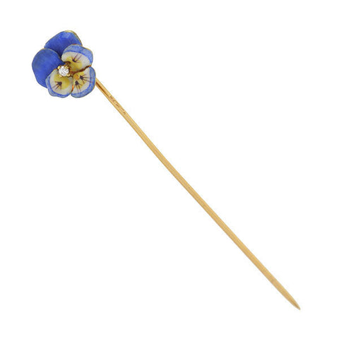 KREMENTZ Art Nouveau 14kt Enamel & Diamond Blue Pansy Stick Pin