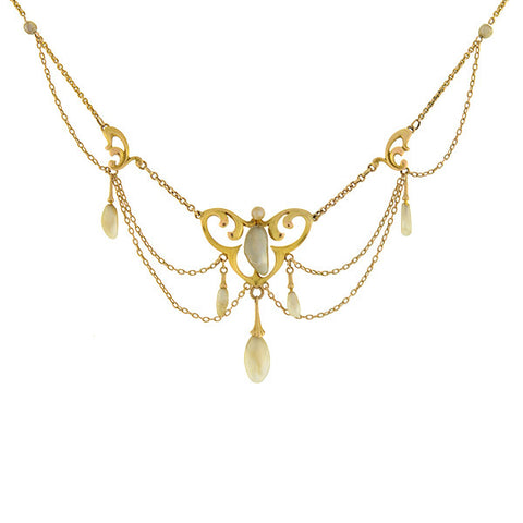 KREMENTZ Art Nouveau 14kt Natural Pearl Festoon Necklace