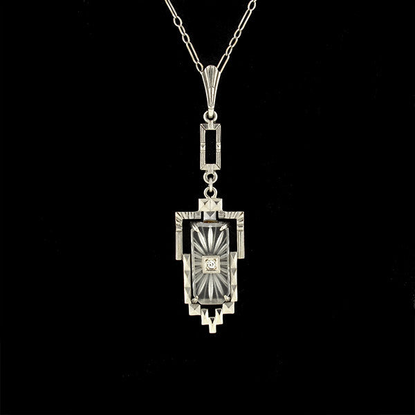 KREMENTZ Art Deco 14kt Diamond & Rock Quartz Crystal Necklace
