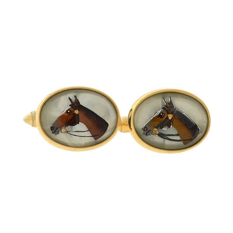 Edwardian Plat & Gold Mother of Pearl Diamond & Onyx Cufflinks