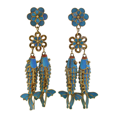 Arts and Crafts Hungarian Silver Gilt Turquoise + Enamel Earrings
