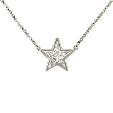 Estate 18kt Kite Diamond Star Necklace 0.45ctw