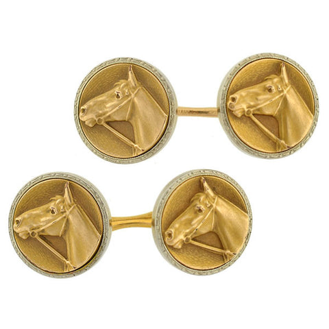 KREMENTZ Gold Filled & Sterling Horse Head Cufflinks