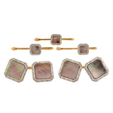 KREMENTZ Edwardian 14kt Platinum Black Mother of Pearl 5-Piece Cufflink Set