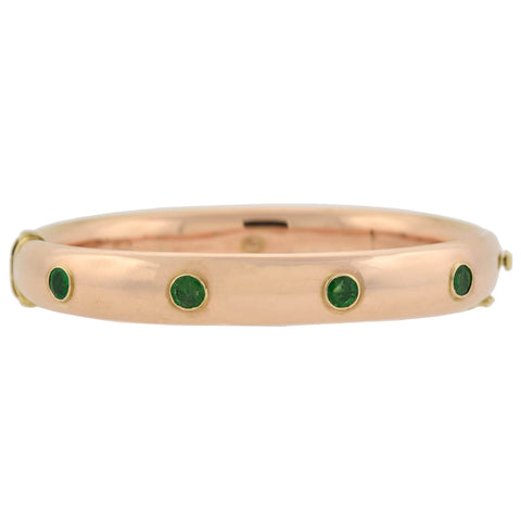 KREMENTZ Late Victorian 14kt Emerald 4-Stone Bangle Bracelet