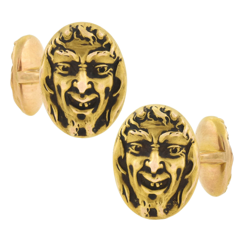 KREMENTZ Art Nouveau 14kt Double Sided Repousse Devil Face Cufflinks